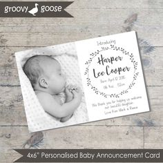 simple wreath monochrome baby announcement card diy printable baby thank you card - Baby Announcement Cards