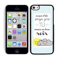 Funda carcasa para iPhone 5C diseño ilustración frase aunque el día salga gris…