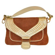 Halston Brown Suede & Metallic Gold Leather Handbag | From a collection of rare vintage handbags and purses at http://www.1stdibs.com/fashion/accessories/handbags-purses/