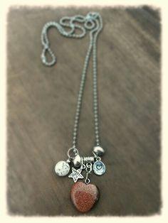 M-Brace sieraden - Ketting met bruine goudsteen hanger