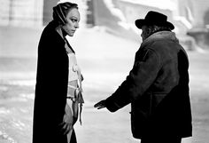 Donald Sutherland & Federico Fellini on the set of Il Casanova di Federico Fellini (Fellini's Casanova), 1976