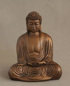 Seated calmly, this seated Buddha figure gets a regal touch with a resplendent bronze finish. Resembling the famous Buddhist shrine in Kamakura, Japan, statue measures inches high. Buddhist Shrine, Buddhist Temple, Giant Buddha, Buddha Figures, Lotus Position, Aquarium Design, Kamakura, Historical Sites, Bronze Finish