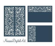 SVG DXF laser cutting files Set  Wedding Invitation Card Templates 5x7'', 4x6'' Gate fold, Quinceanera, Silhouette Cameo, Cricut