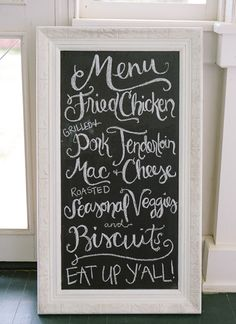 Southern menu | Chelsey Boatwright #wedding