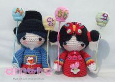 Crochet Dolls, Crochet Hats, Wedding Doll, Japanese Wedding, Mini S, Kokeshi Dolls, Amigurumi Doll, Doll Toys, Hand Knitting