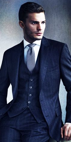 Men's blue three piece pin striped suit
