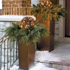 A Grandin Road exclusive, this Pre-lit Pinecone Greenery is holiday d that's outside the typical big-box-store thinking. The sturdy wire frame fits neatly in the planters, allowing the greenery to flow over the rim.Pinecone greenery is pre-strung with 50 of the brightest-shining lights availableColumn Planters (sold separately) are skillfully crafted from non-rusting stainless steelPlanters include inserts that reduce the amount of planting material required6' cord lengthShaping is r...