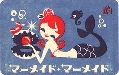 japanese postcard mermaid