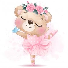 Cute little bear with ballet dance Baby Animal Drawings, Cute Drawings, Cute Animal Illustration, Watercolor Illustration, Ballerina Illustration, Cute Images, Cute Pictures, Cartoon Mignon, Watercolor Flower Background