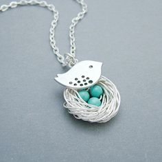 Silver Bird Nest Necklace with Turquoise by SweetBlueBirdJewelry, $24.00