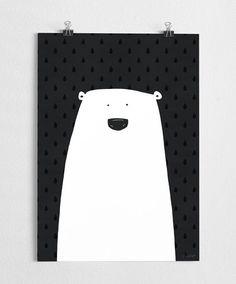 Art print, black and white poster, polar bear illustration, modern,bear art // Polar on Etsy, $38.63 AUD