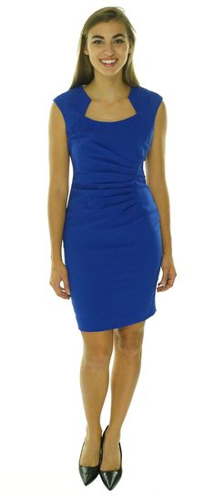 b27eec774f24 Calvin Klein Women s Cap-Sleeve Side-Ruched Sheath Dress at Amazon Women s  Clothing store