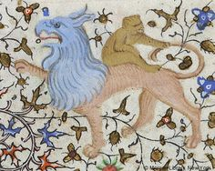 Monkey riding on back, and holding tail, of hybrid animal   Book of Hours   France, Paris   ca. 1420-1425   The Morgan Library & Museum
