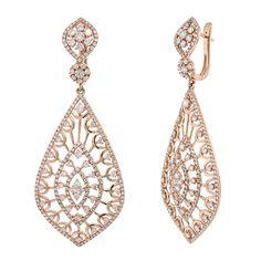 4.14ct 14k Rose Gold Diamond Earrings - Diamond by Bonanza
