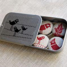 screenprinted fabric bird magnet set.  via Etsy.