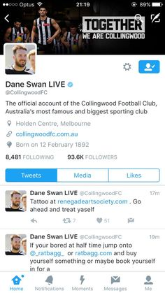 Nice idea from @CollingwoodFC @AFL with this Dane Swan takeover @TwitterSports @TwitterAU #FanEngagement