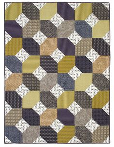 Masculine quilt patterns are always popular. This easy-to-make throw-size quilt is a great quilt for a man in fabrics designed by a man! With gray, gold, navy, and brown prints, you can& go wrong.Quilt by: Marissa LareQuilt Size: 57 Quilts For Men Patterns, Easy Quilt Patterns, Modern Patterns, Block Patterns, Quilting Tutorials, Quilting Projects, Quilting Designs, Embroidery Designs, Crazy Quilting