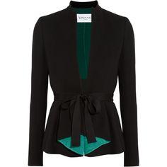 Vionnet Pleated wool-blend blazer ($660) ❤ liked on Polyvore featuring outerwear, jackets, blazers, blazer, black, pleated blazer, vionnet, slim blazer jacket, slim blazer and wool blend blazer