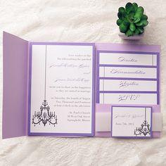 elegant purple chandelier pocket wedding invitation kits EWPI139 as low as $1.69