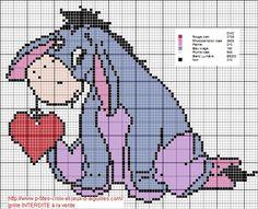 eeyore - Disney Winnie the Pooh Santa Cross Stitch, Cross Stitch Cards, Cross Stitch Baby, Cross Stitch Animals, Cross Stitch Fabric, Cross Stitch Needles, Cross Stitching, Pony Bead Patterns, Loom Patterns
