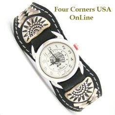 Four Corners USA Online - Women's Sterling Leather Watch Strap Chief Headdress Face Native American Indian Navajo Jewelry NAW-1412IH, $101.00 (http://stores.fourcornersusaonline.com/womens-sterling-leather-watch-strap-chief-headdress-face-native-american-indian-navajo-jewelry-naw-1412ih/)