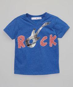 Loving this Heather Blue 'Rock' V-Neck Tee - Infant, Toddler & Boys on #zulily! #zulilyfinds