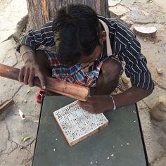 Mud resist Indigo block print workshop Bagru - block print stamp carver in our Textile Tour Rajasthan Journey Pictures, Indian Block Print, Group Tours, Behind The Scenes, Print Design, Textiles, The Incredibles, Mud, Indigo