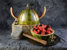 Watermelon carving is so much fun especially when you can carve Viking Helmet