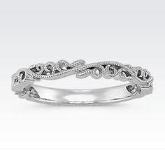 Vintage Diamond Wedding Band Round diamonds White gold and Stylish