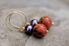 purple pearl and earthy jasper stone earrings, natural stone and pearl earrings, purple and mustard colored earrings by FreshwaterCreation on Etsy