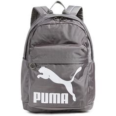 PUMA Originals Backpack ($35) ❤ liked on Polyvore featuring bags, backpacks, medium grey, top zip backpack, gray bag, patch backpack, nylon backpack and grey bag