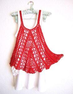 Red Cotton Breezy Crochet Summer Tank Top Dress  by MyMayaMade