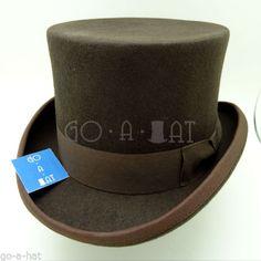 Wool-Felt-Topper-Top-Hat-Victorian-Tuxedo-Men-59cm-Brown-CLASSIC-x-FORMAL