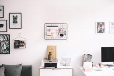Modern, feminine, organized home office.