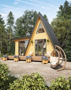 Dream House Ideas and Interior Design 00019 Tiny House Cabin, Tiny House Living, Tiny House Design, Cabin Homes, My House, A Frame House Plans, A Frame Cabin, Tiny House Plans, Cabins And Cottages