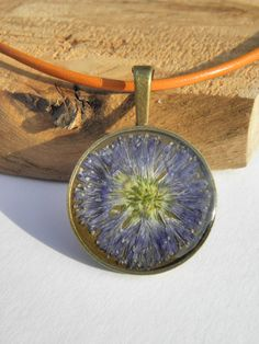 purple flower pendant cute dryed flower necklace by MarieksJewelry