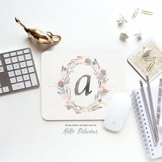 Monogram Mouse Pad Mousepad Floral Watercolor by HelloDelicious