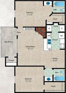 El Mar Floor Plan at The El Dorado View Apartments in Webster, TX