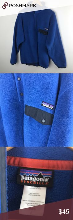 """Men's Patagonia blue Synchilla fleece pullover Good used condition Blue Patagonia Synchilla Snap-T pullover fleece Jacket. Men's size Large. Chest 52"""" Length 28"""" Patagonia Jackets & Coats"""