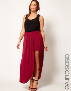 ShopStyle: AsosCURVE Exclusive Split Thigh Maxi Skirt