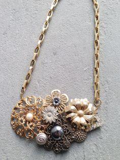 Vintage reconstruction necklace, button necklace, chain necklace, bib necklace, gold accessories