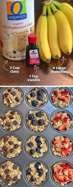 4 large ripe bananas (smashed) 3 cups oats 1 tsp vanilla extract mix-ins of your choice Banana Oat Muffins, Healthy Breakfast Muffins, Banana Oats, Healthy Sweet Snacks, Easy Snacks, Kid Snacks, Healthy Lunches, Lunch Snacks, Healthy Eating