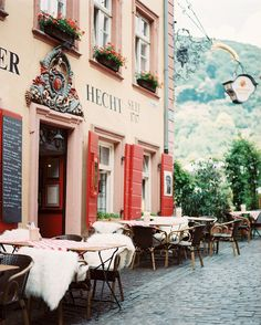 An outdoor dining area in Heidelberg, Germany