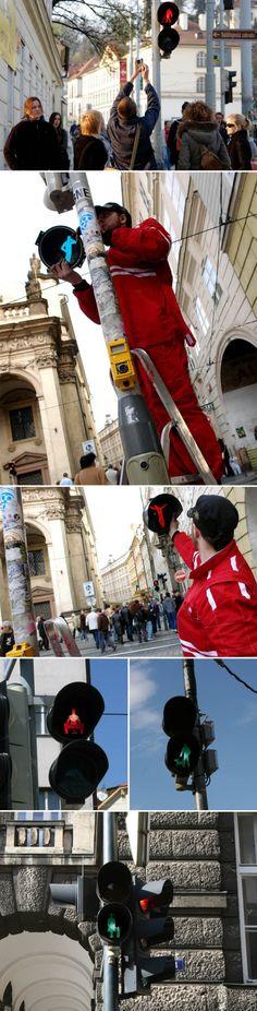 Roman Tyc, Ztohoven, Traffic Light art, switched images of traffic lights, Prague Street Art,