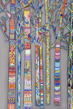 Just think of these trees as being an art quilt. vwr clair letton: Fantastic Trees - collaboration project maybe - individual trees displayed together - winter or spring Zentangle piece? Middle School Art, Art School, Art And Illustration, Illustrations, Arte Elemental, Classe D'art, Zentangle Patterns, Zentangles, Mosaic Patterns