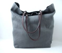 Tote Bag, Gray Linen with Leather Handles