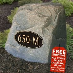 Good shipping deal on the well cover rock with customized address plaque. House Address Numbers, Address Plaque, House Numbers, Landscaping With Rocks, Front Yard Landscaping, Landscaping Ideas, Septic Tank Covers, Landscape Drainage, Faux Rock
