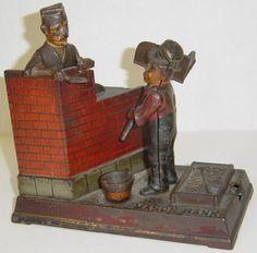 Antique Shepard Hardware Mason Iron Mechanical Bank