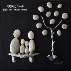ARTbyJWP Unique Pebble Art Family And Tree in Silver by ARTbyJWP