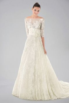 Porcelain Off-shoulder Wedding Gown with Lace Overlay and Half Sleeves This in white would be pretty.